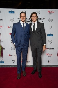 SYDNEY, AUSTRALIA - May 20: Jordan Stenmark and Zac Stenmark arrive at the Australian Fashion Film Awards 2015 Red Carpet at Sky Lobby, Westfield on May 20th, 2015 in Sydney, Australia.